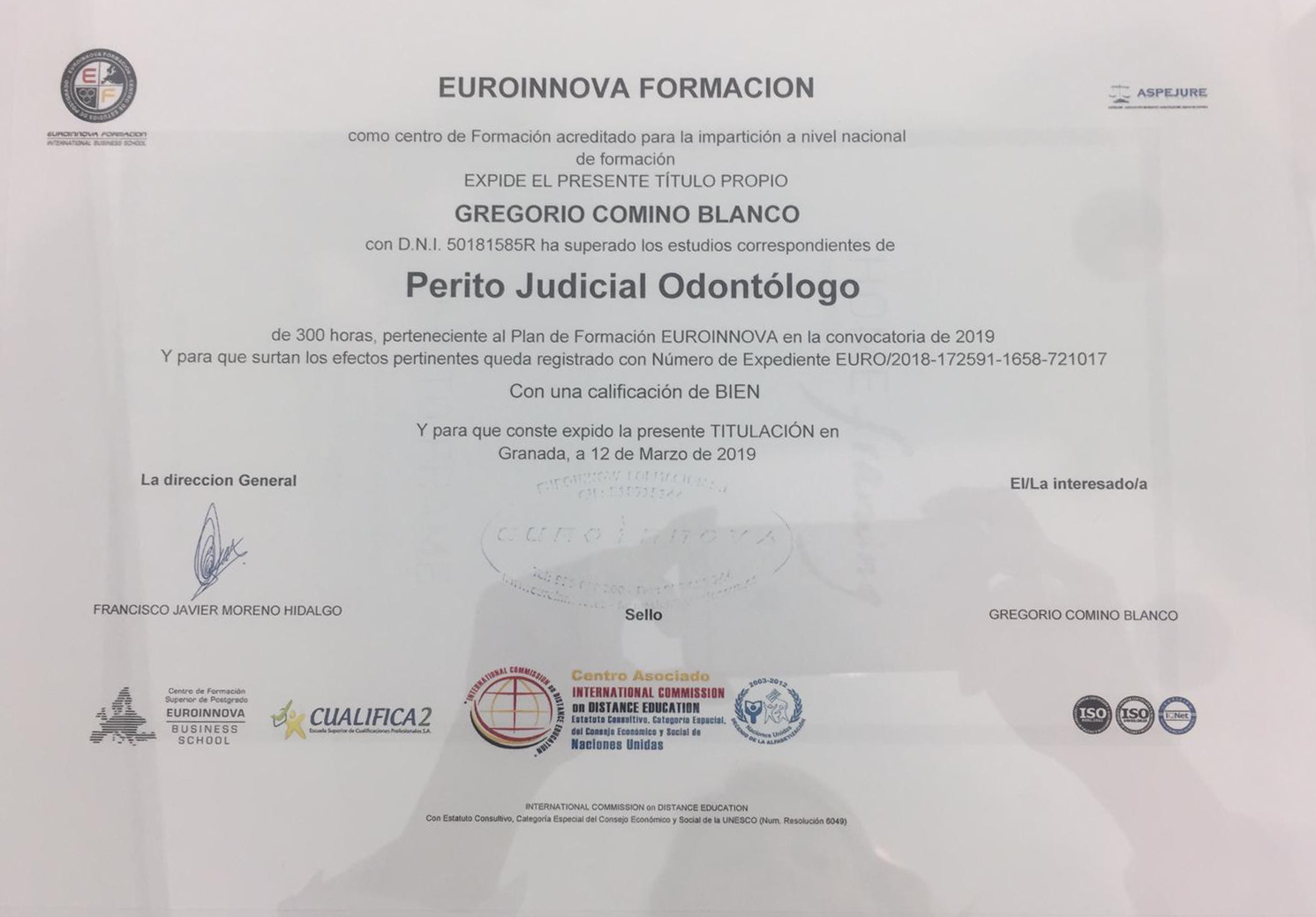 Diploma perito judicial